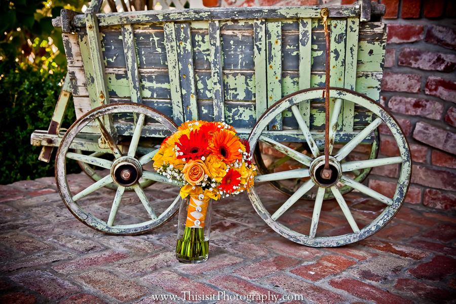 hollister wedding photographer photo of brides boquet in a cart
