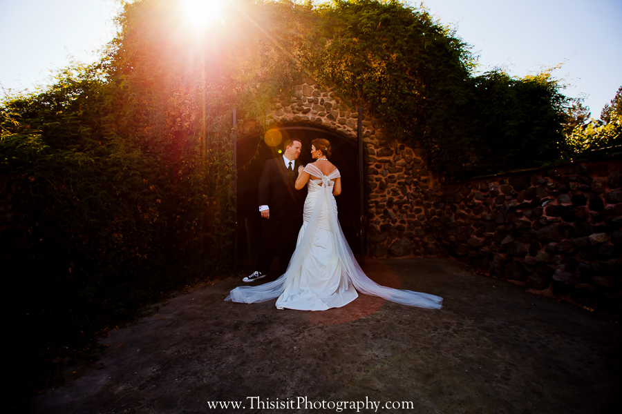 groom and bride in the wine chamber by This is it Photography