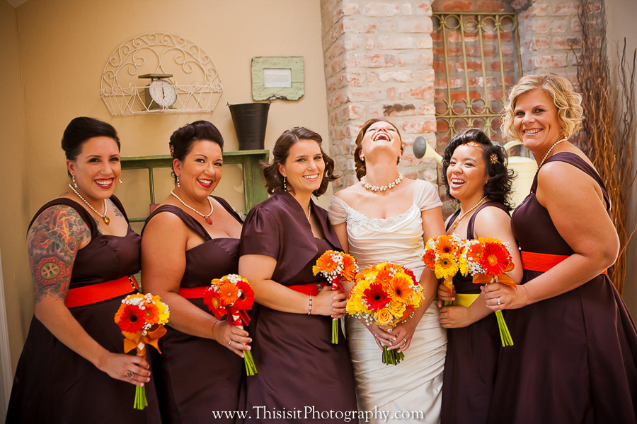 bridesmaid enjoying photo session with their wedding photographer