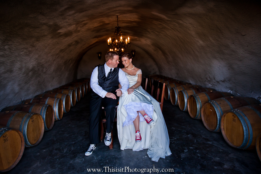 Bride and Goom in wine chamber by Wedding Photographer